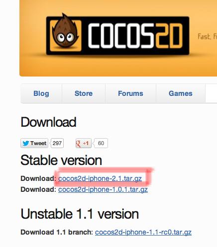 cocos2d 2.1 インストール
